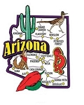 Arizona Jumbo State Map Fridge Magnet