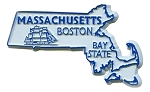 Massachusetts State Outline Fridge Magnet