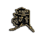 Alaska The Last Frontier State Map Fridge Magnet