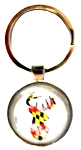 Maryland Flag Deer Head Bubble Keychain