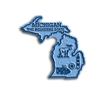 Michigan the Wolverine State Map Fridge Magnet