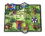 Colorado State Outline Artwood Jumbo Magnet