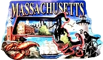 Massachusetts Montage Artwood Fridge Magnet