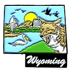 Wyoming 6 Color United States Fridge Magnet