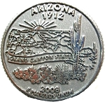 Arizona State Quarter Fridge Magnet