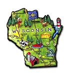 Wisconsin State Outline Artwood Jumbo Magnet