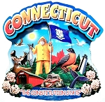Connecticut Montage Artwood Fridge Magnet