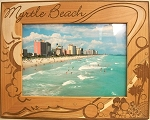 Myrtle Beach with Sun and Palm Tree Laser Engraved Wood Picture Frame (5 x 7)