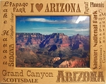 I Love Arizona Laser Engraved Wood Picture Frame (5 x 7)