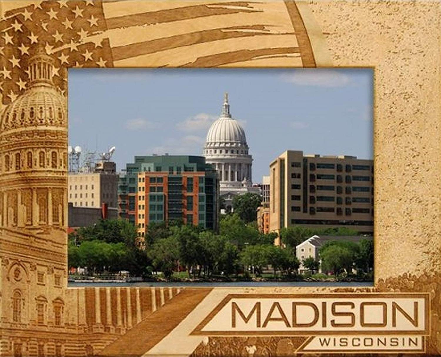 Madison Wisconsin With American Flag Laser Engraved Wood
