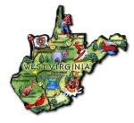 West Virginia State Outline Artwood Jumbo Fridge Magnet