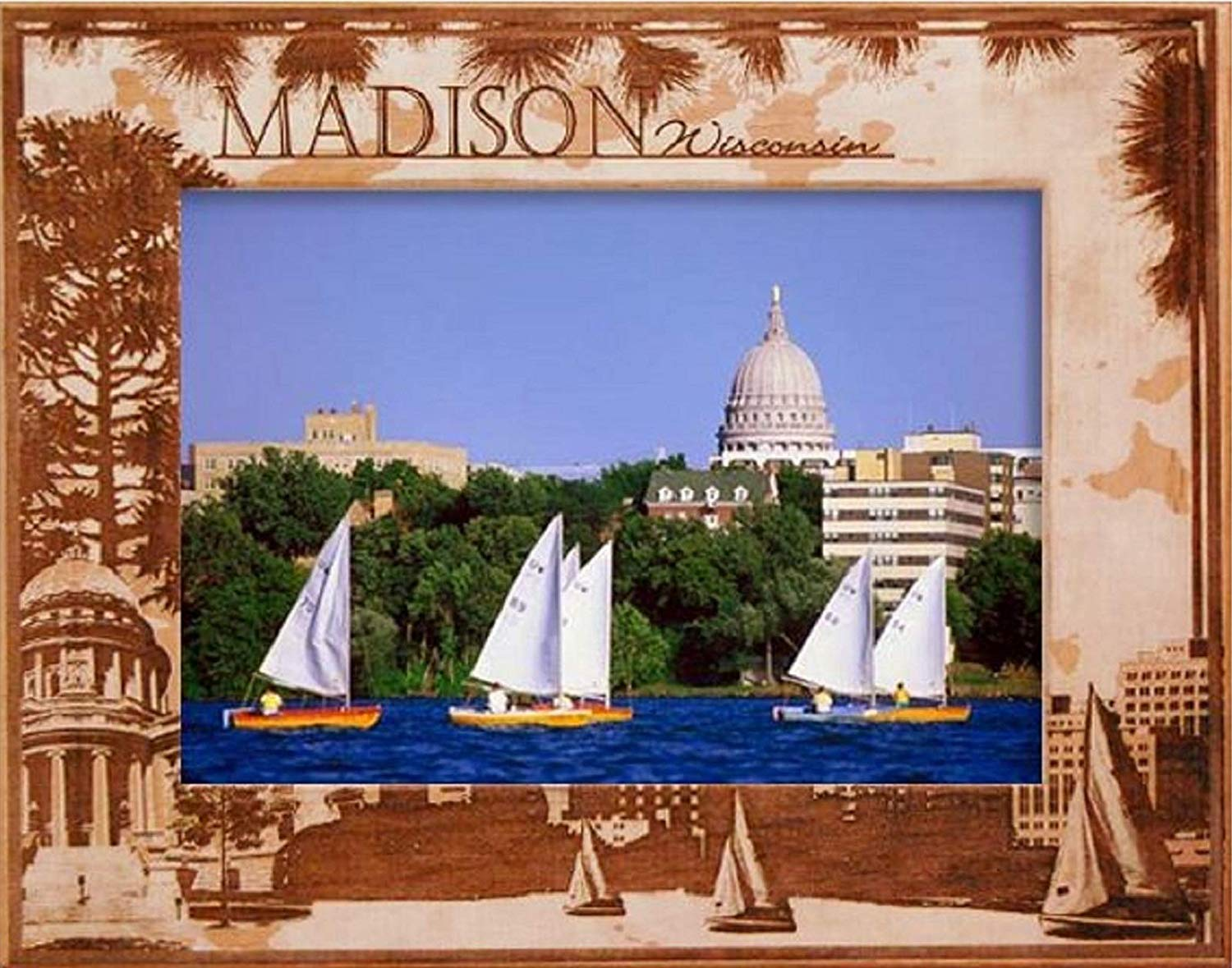 Madison Wisconsin Laser Engraved Wood Picture Frame 5 X 7