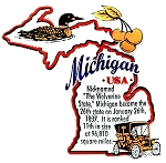 Michigan The Wolverine State Outline Montage Fridge Magnet
