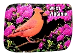 West Virginia with Cardinal Artwood Fridge Magnet