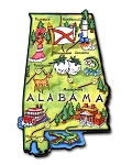Alabama State Outline Artwood Jumbo Fridge Magnet