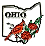 Ohio State Outline with Cardinal and Flowers Fridge Magnet