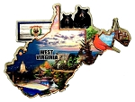 West Virginia Montage Artwood Fridge Magnet