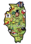 Illinois State Outline Artwood Jumbo Magnet