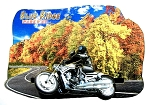 Blue Ridge Parkway North Carolina with Movable Motorcycle Artwood Fridge Magnet