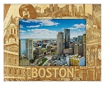 Boston Massachusetts Laser Engraved Wood Picture Frame (5 x 7)