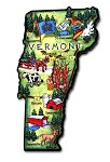 Vermont State Outline Artwood Jumbo Magnet