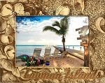 Cayman Islands with Seashells Laser Engraved Wood Picture Frame (5 x 7)