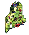 Maine State Outline Artwood Jumbo Fridge Magnet
