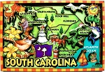 South Carolina Cartoon Map Fridge Magnet