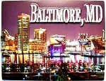 Baltimore Maryland at Night Fridge Magnet