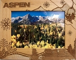 Aspen Colorado Laser Engraved Wood Picture Frame (5 x 7)