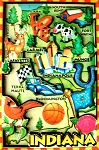 Indiana Cartoon Map Fridge Magnet