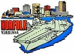 Norfolk Virginia with Aircraft Carrier Fridge Magnet