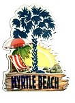 Myrtle Beach South Carolina with Palm Tree Fridge Magnet