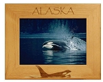 Alaska with Killer Whale Laser Engraved Wood Picture Frame (5 x 7)