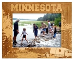 Minnesota Camping Laser Engraved Wood Picture Frame (5 x 7)