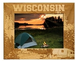 Wisconsin Camping Laser Engraved Wood Picture Frame (5 x 7)