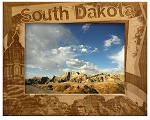 South Dakota Border Style Laser Engraved Wood Picture Frame (5 x 7)