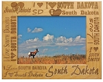 I Love South Dakota Laser Engraved Wood Picture Frame (5 x 7)
