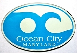 Ocean City Maryland Blue Wave Souvenir Oval Fridge Magnet Design 10