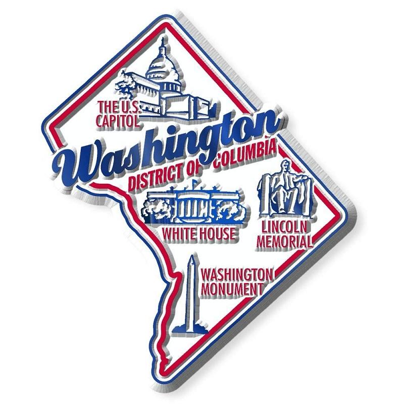 washington d c premium state map magnet design 2