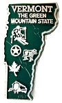 Vermont the Green Mountain State Map Fridge Magnet Design 2