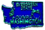 Washington The Evergreen State Blue with Green Lettering Souvenir Fridge Magnet Design 10