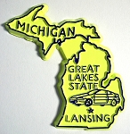 Michigan The Wolverine State Yellow Souvenir Fridge Magnet Design 10