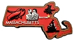 Massachusetts Multi Color Fridge Magnet
