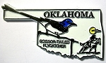 Oklahoma State Outline with Scissor-Tailed Flycatcher Fridge Magnet Design 1