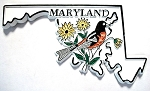 Maryland 4 Color State with Oriole Souvenir Fridge Magnet Design 1