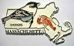 Massachusetts State Outline with Chickadee Fridge Magnet Design 1