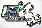 Massachusetts State Outline with Chickadee and Flowers Fridge Magnet Design 1