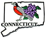 Connecticut State Outline with American Robin and Flowers Fridge Magnet