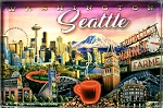 Seattle Washington Glass Fridge Magnet